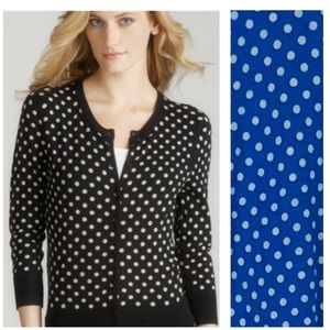 SPENSE Blue Cardigan Sweater with White Polka Dots